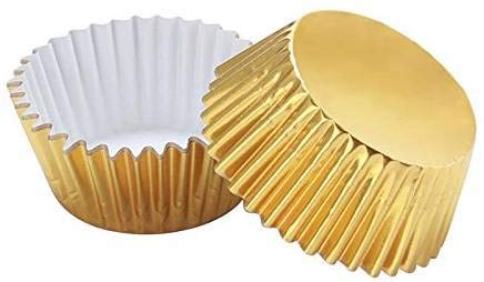 APSAMBR- 100 PCS Gold Foil Metallic Cupcake Case Liners Baking Muffin Paper Cases