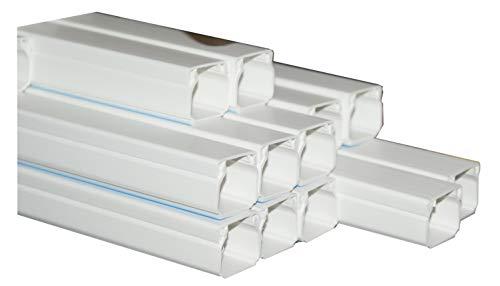 Kabelkanal selbstklebend Kunststoffkanal verschiedene Größen Verdrahtungskanal Leitungskanal reinweiß mit Deckel, PVC Kanal (10m 15x10mm) -