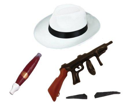 TEILIGES GANGSTER ZUBEHÖR= WEISSER GANGSTER HUT MIT EINEM SCHWARZEN BAND / EINE RIESEN PLASTIK ZIGARRE / EINEM SELBSTKLEBENDEN GANGSTER SCHNURRBART/ EINE AUFBLASBARE MASCHINEN (Gangster Aufblasbare Maschinenpistole)