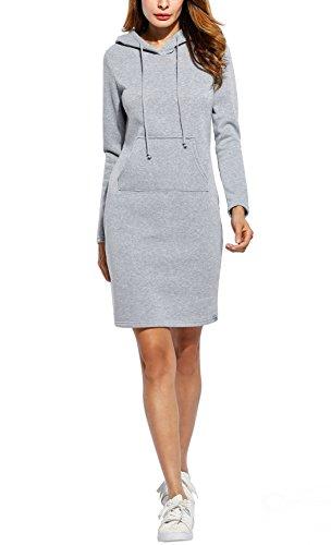 SoTeer Sweatkleid Damen Langarm Hoodie Lang Casual Sweatshirt Pulloverkleider Beiläufige Herbst Winter Kleid Basic (Der Kleid Frauen Jordan)