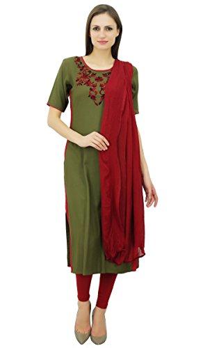 Atasi Women's Rayon Straight Embroidered Salwar Kameez Dupatta Suit Set Dupatta Set