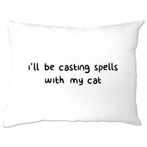 Tim And Ted Halloween Kissenbezug Ich werde mit Meinen Katzen-Zauber Be White One Size (Lustige Witze Halloween-katze)