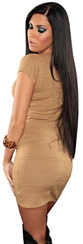 Koucla robe pull-& femme manches courtes avec col en v taille unique (32–38) Marron - Karamell