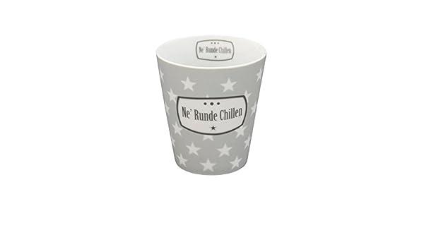 Krasilnikoff Happy Mug Becher Ne´ Runde Chillen Porzellan hellgrau Sterne
