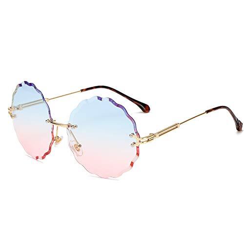 JJHR Sonnenbrillen Blumen Rahmenlose Trimmen Sonnenbrille Dekoration Mode Damen Sonnenbrille Marine Farbe Gläser