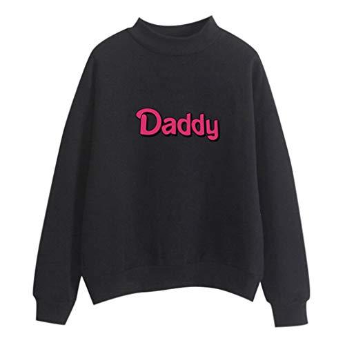 Linkay Langarm Pullover Rundhalsausschnitt Brief Drucken Shirt Hoodie Print Sweatshirt Damen Herbst Sweater (Schwarz,X-Large) -