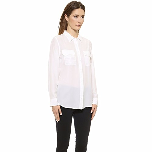Blanc Femmes Revers Manches Longues Poches Simples Poitrine Ourlet Chemise Arc T-Shirt Tee Blanc