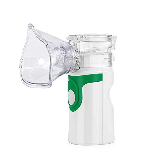 SKYYBOOB Tragbarer Ultraschall-Mesh-Inhalator, Hand-Dampfnebel-Inhalator mit Maske für Kinder und Erwachsene für den Heimgebrauch, 2-Modus, USB- und AA-Batterie-Betrieb,Grün