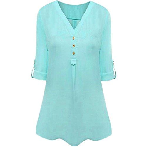 ESAILQ Damen Sommer Kurzarm T-Shirt V-Ausschnitt mit Schnürung Vorne Oberteil Tops Bluse Shirt(S,Himmelblau)