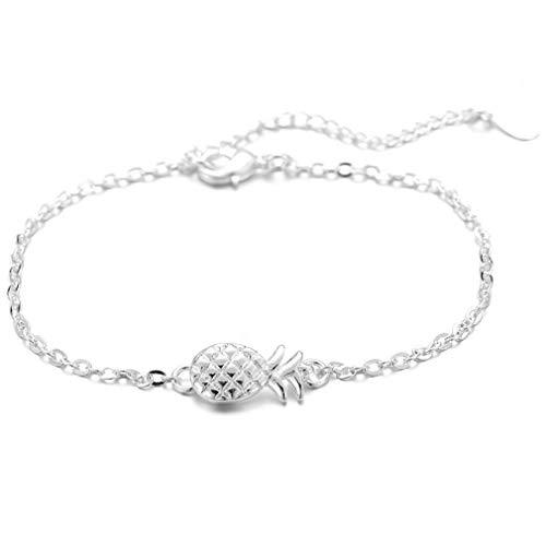 Sunskyoo-Ketten-Armband, modischer Anhänger, Ananas, Obst, Charm-Schmuck für Frauen und Mädchen 21 cm silber (Abendkleider Für Zierliche Frauen)