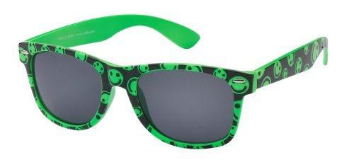 Sonnenbrille Nerdbrille retro Artikel 4026-16, grün schwarz mit smileys / schwarz