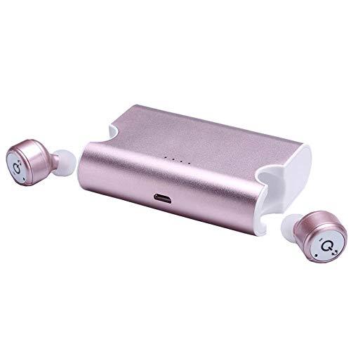 Yimiky Drahtlose Bluetooth-Kopfhörer, Invisible Cordless Earbuds Noise Cancelling-Kopfhörer mit Mikrofon für Sporttraining im Freien Kompatibel mit iPhone/iPad/Samgsung/Motorola/BlackBerry-Rose Gold Gold Motorola Headset