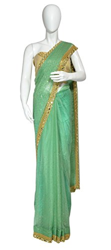 Mint Green Shimmer Chiffon Saree with Golden Mirror and Sequins work with...