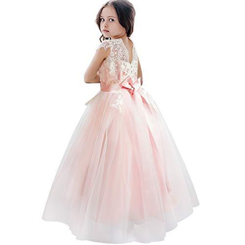 CQDY Blumenmädchenkleider Tüll Puffy Party Sleeveless Brautjungfer Spitze Abschlussball Pageant Kleider Hochzeit Geburtstag Weihnachtsfeier (8-9 Jahre, Rosa) (Kinder Pink Pageant Kleider)