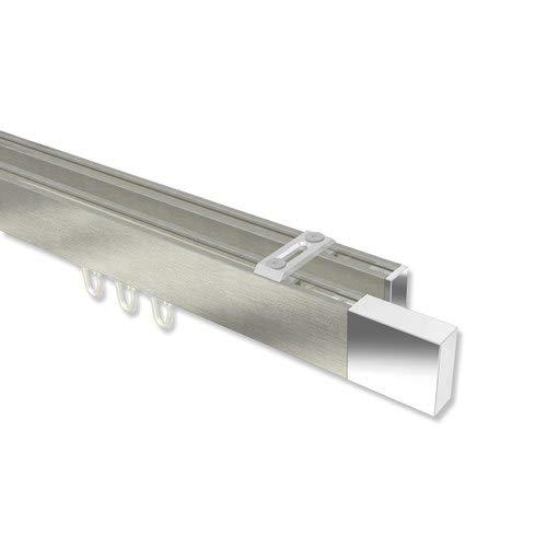 INTERDECO Innenlauf-Gardinenstangen (Deckenbefestigung) eckig Edelstahl-Optik/Chrom doppelläufig Smartline (Universal) Lox, 140 cm