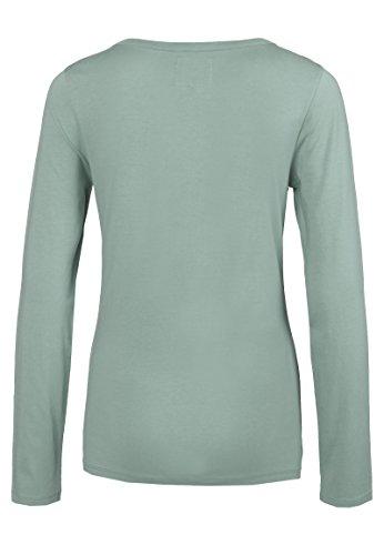Sublevel Damen Longsleeve mit Schnürung | Basic Langarmshirt Uni-Farben | Leichtes Oberteil mit Rundhals-Ausschnitt Langarm middle-green