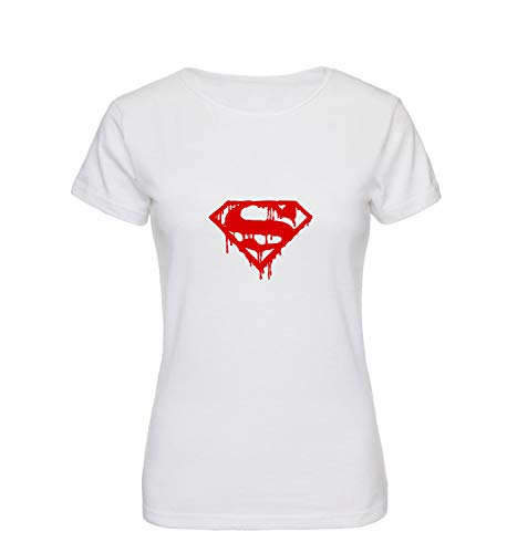 Bloody Superman Superhero Logo T-Shirt Shirt Tshirt Women Women's Ladies Damen Gift for Him Her Birthday Christmas LG T-Shirt