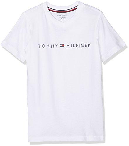 Tommy Hilfiger Jungen Schlafanzugoberteil SN Tee SS, Weiß (White 100), 128 (Herstellergröße: 8-10)
