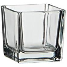 Glas Teelichthalter Windlicht Vase Glaswürfel BONNY Teelichtglas