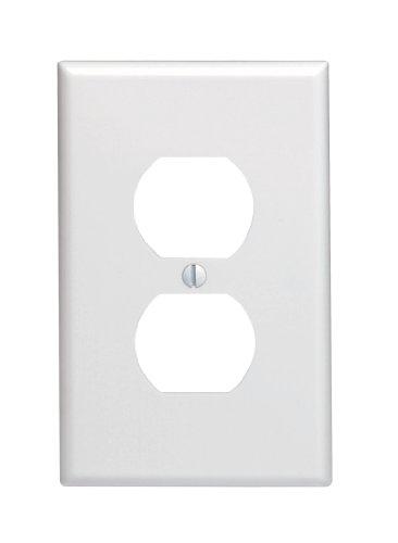 Leviton 80503-W 1-Gang Duplex Device Receptacle Wallplate, Midway Size, Thermoset, Device Mount, White by Leviton (Leviton Duplex)
