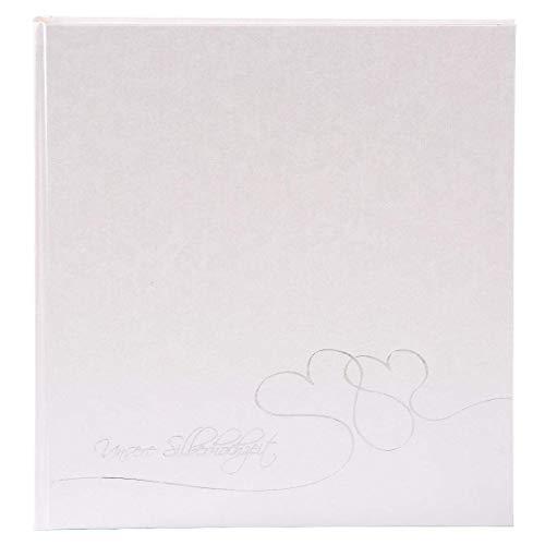Goldbuch Silberhochzeitsalbum, Cuore, 30 x 31 cm, 60 weiße Seiten mit Pergamin-Trennblättern, Beschichtetes Papier mit Silberprägung, Weiß, 08204