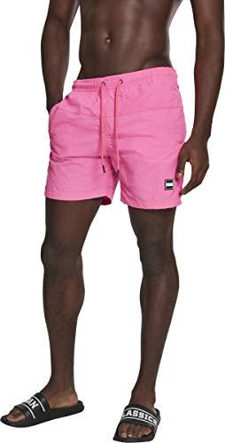 Elastischer Kordelzug Am Bund (Urban Classics Herren Block Swim Shorts Badehose neonpink M)