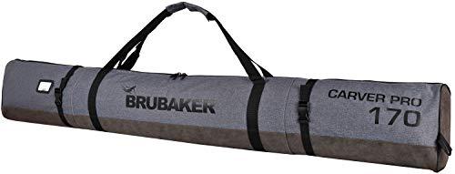 Brubaker Carver Performance Skisack für 1 Paar Ski und Stöcke - Grau meliert Schwarz - 170 cm -