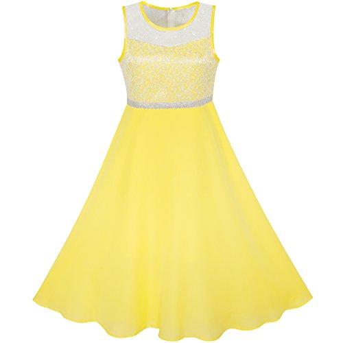 Sunboree Mädchen Kleid Gelb Chiffon Brautjungfer Tanzen Ball Maxi Kleid Gr. 146 - Chiffon Mädchen Kleid Bodenlangen