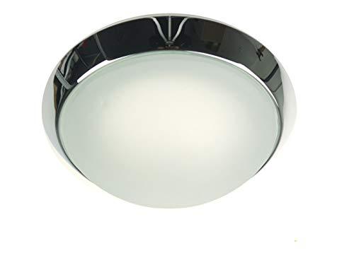 Plafonnier à LED classique couverture Bol Ø 25 cm, verre satiné avec bord clair et un style élégant anneau décoratif en chrome, Belle lampe Vestibule LED avec fermeture à baïonnette