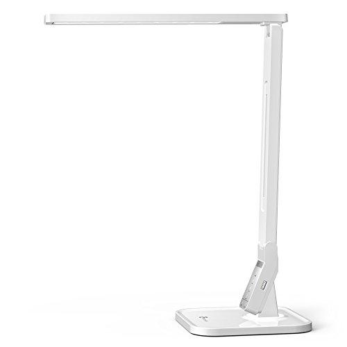 Lampada da Scrivania LED, TaoTronics Lampada da Tavolo 14W ( 5 livelli Dimmerabili, 4 modalità Pannello di Controllo Sensibile, Porta di Ricarica USB per iPhone, Smartphone)