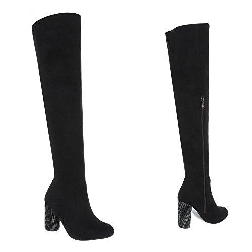 Damenschuhe Overknees Ital Pump Schwarz Stiefel AE35 High Design Overknees Heels Reißverschluss ZqwPE5