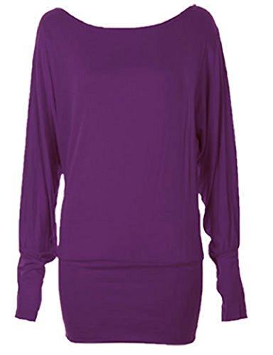 Generic - Top à manches longues - Pull - Manches Longues - Femme Multicolore Bigarré Taille Unique Violet