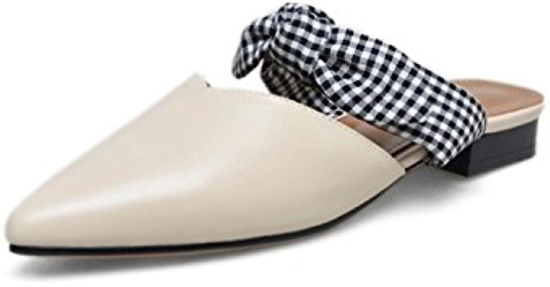 Dulce Arco Desgaste Exterior Señoras de Cuero Sandalias y Zapatillas Zapatos de Gran Tamaño