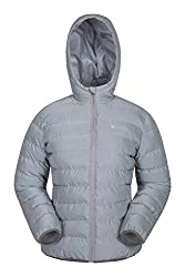 Mountain Warehouse Seasons Reflektierende Damen-Steppjacke - Microfaser-Isolierung, Reflektoren, Wasserabweisende Regenjacke - Damen-Bekleidung für Radfahren, Winter Silber 32 DE (34 EU)