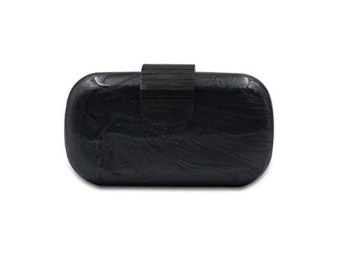GSHGA Frauen Clear Acryl Schwarz-Weiß-Perle Transparente Abend Clutch Geldbörse Handtasche Kette Umhängetasche,Black (Gucci-handtasche, Schwarz Und Weiß)