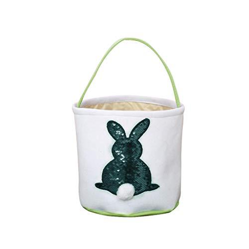 sunshineBoby Wiederverwendbare Ostereikorb Urlaub Kaninchen Hase gedruckt Leinwand Geschenk tragen Eier Candy Bag Hasenohren Tasche Tote Handtasche Wristlets HäSchen SüßIgkeits Taschen (Grün)
