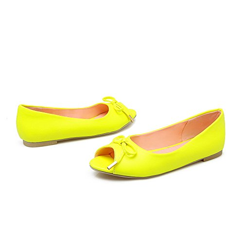 Odomolor Donna Punta Aperta Tacco Basso Finta Pelle Scamosciata Puro Heeled-Sandals Giallo