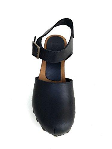 Sandali sabot DV90152 in pelle Divine Follie zoccoli tacco MainApps Nero