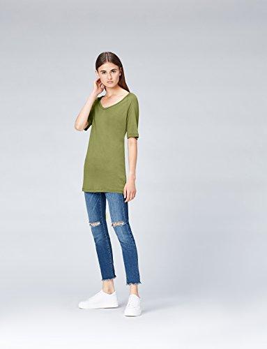 FIND Damen T-Shirt mit kastenförmiger Silhouette Grün (Olive)