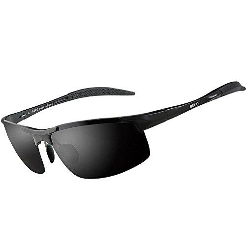 Duco Herren Sportbrille Polarisierte Sonnenbrille Fahrerbrille 8177S (Schwarz, Grau)