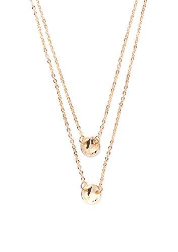Happiness Boutique Damen Mehrreihige Kette in Gold | Kurze Kette mit Anhängern Minimalist Style (Kostüm Ideen Minimal)