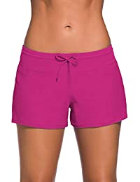 f5a5a237eb RIOJOY Women's Boyshort Swimsuit Bottoms with Inner Lining Briefs, Solid  Color Drawstring Elastic Waistband Swimming Panty, Board Short…
