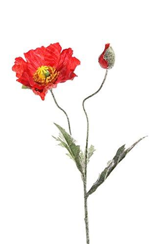 artplants Set 6 x Künstliche Mohnblume, rot, 40 cm, Ø 9 cm – 6 Stück – Kunstblumen/Künstlicher Strauß