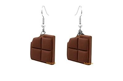 Lady-Charms - Fait-main - Boucles d'oreilles Gourmandes Carrés de Chocolat