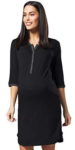 HAPPY MAMA Damen Mutterschaft Gestreift Nachthemd Frontseite öffnen Hemd 007p (Schwarz, 40-42, L)