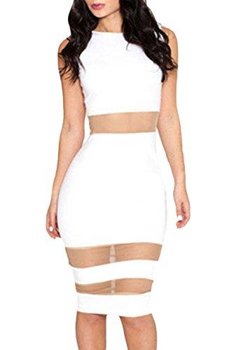 Dissa® femme Blanc SY6428 robe de cocktail Blanc