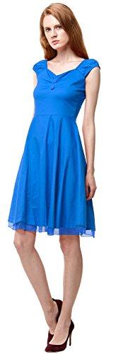 U-shot Abito elegante da donna, vintage anni '50, scollo quadrato, da sera, vestito da damigella d'onore Blue