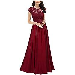 Miusol Femmes Élégant sans Manches col Rond Vintage Robe en Dentelle de Mousseline de Soie Jupe plissée Longue Robe de mariée Rouge M