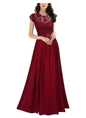 Miusol Damen Elegant Ärmellos Rundhals Vintage Spitzenkleid Hochzeit Chiffon Faltenrock Langes Kleid Rot XL -