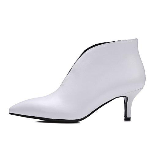 WSS chaussures à talon haut Chaussures à bout avec amende avec des bottes de cuir romain nue chaussures de mode en cuir White